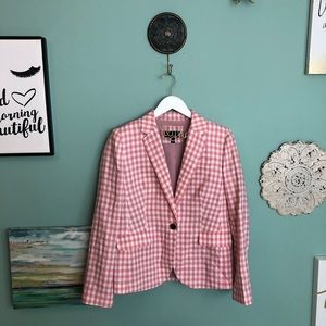 J. Crew Campbell Blazer in Pink Gingham 10 H1